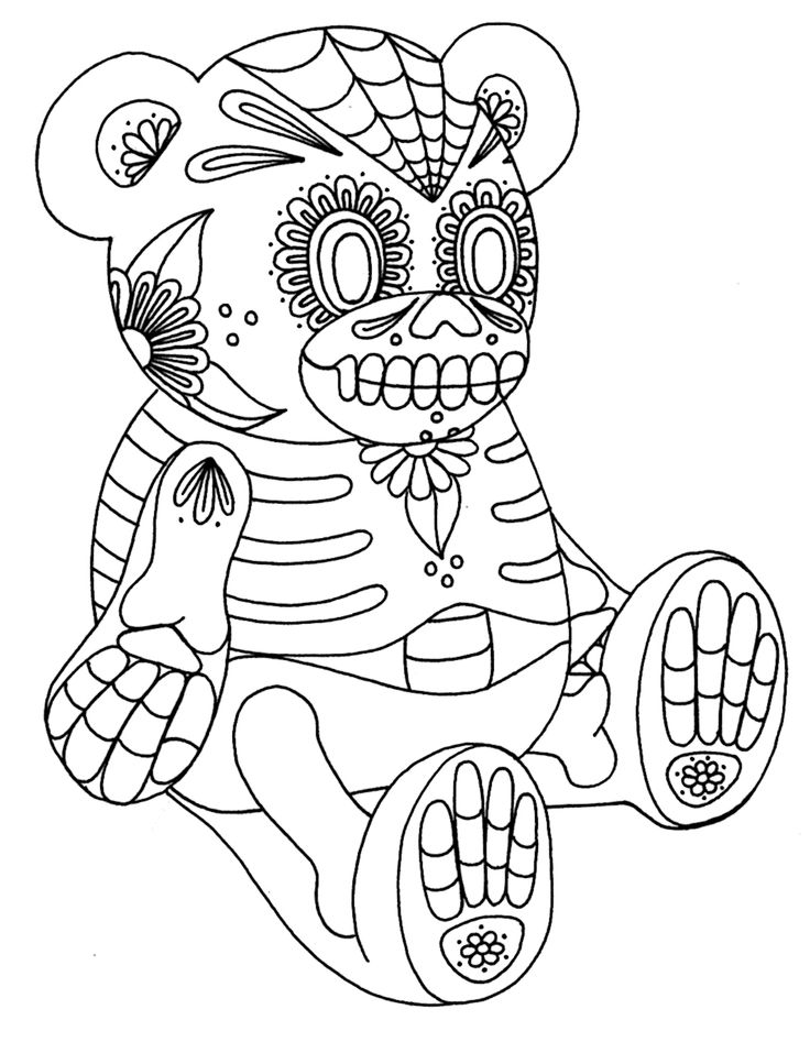 Day Of The Dead Coloring Pages For Kids