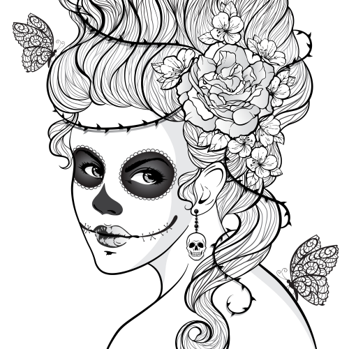 Day Of The Dead Girl Coloring Pages at GetDrawings.com ...