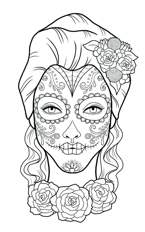 500x800 Day Of The Dead Coloring Pages Day Of The Dead Masks Coloring