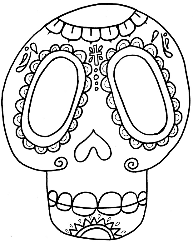 618x778 Day Of The Dead Skull Coloring Pages