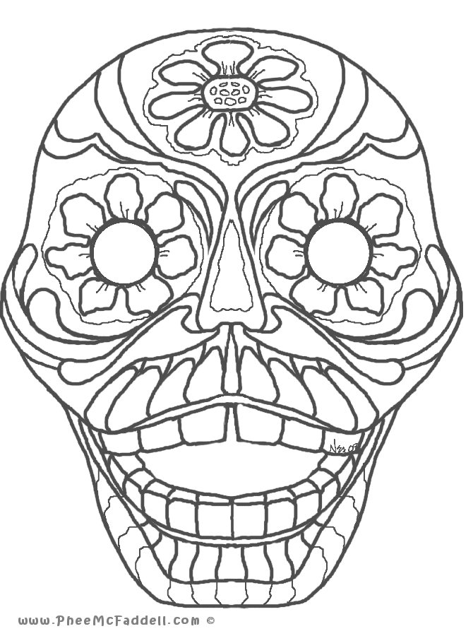 670x900 Day Of Dead Skull Coloring Page