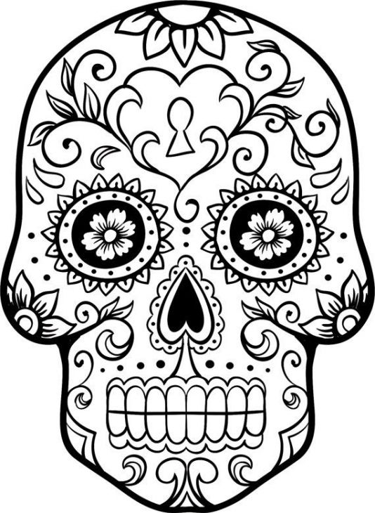 534x730 Sugar Skull From Day Of The Dead Coloring Page Halloween