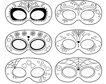 340x270 Sugar Skull Mask Printable Pattern Day Of The Dead Mask