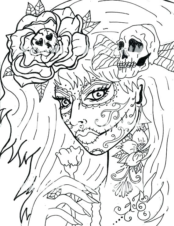 570x738 Day Of The Dead Coloring Skulls Day Of The Dead Coloring Pages Day