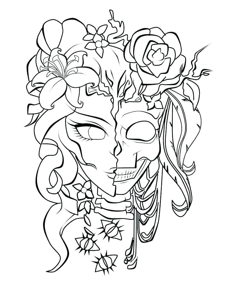 736x927 Day Of The Dead Skeleton Coloring Pages Images Sugar Skull Color