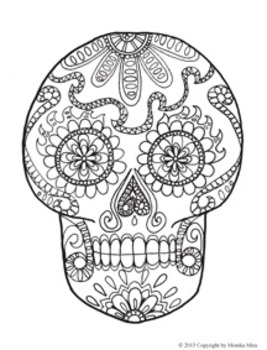 267x350 Day Of Dead Skull Coloring Page