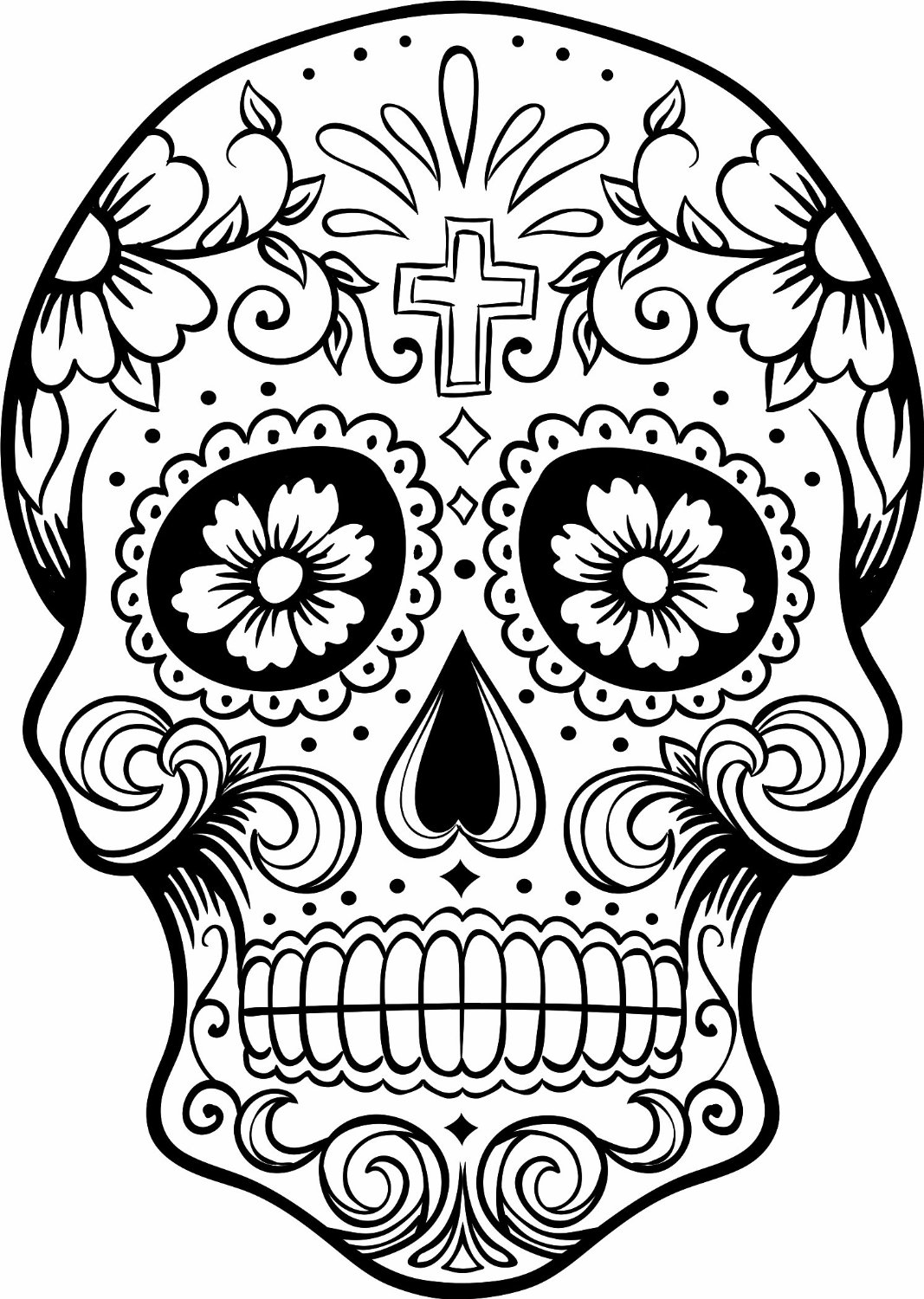 1067x1500 Day Of Dead Sugar Skulls Coloring Pages