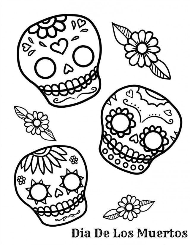640x828 Day Of The Dead Calavera Skull Coloring Freebie!