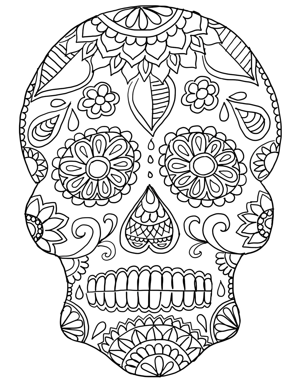 1122x1452 Easy Day Of The Dead Skeleton Coloring Pages W