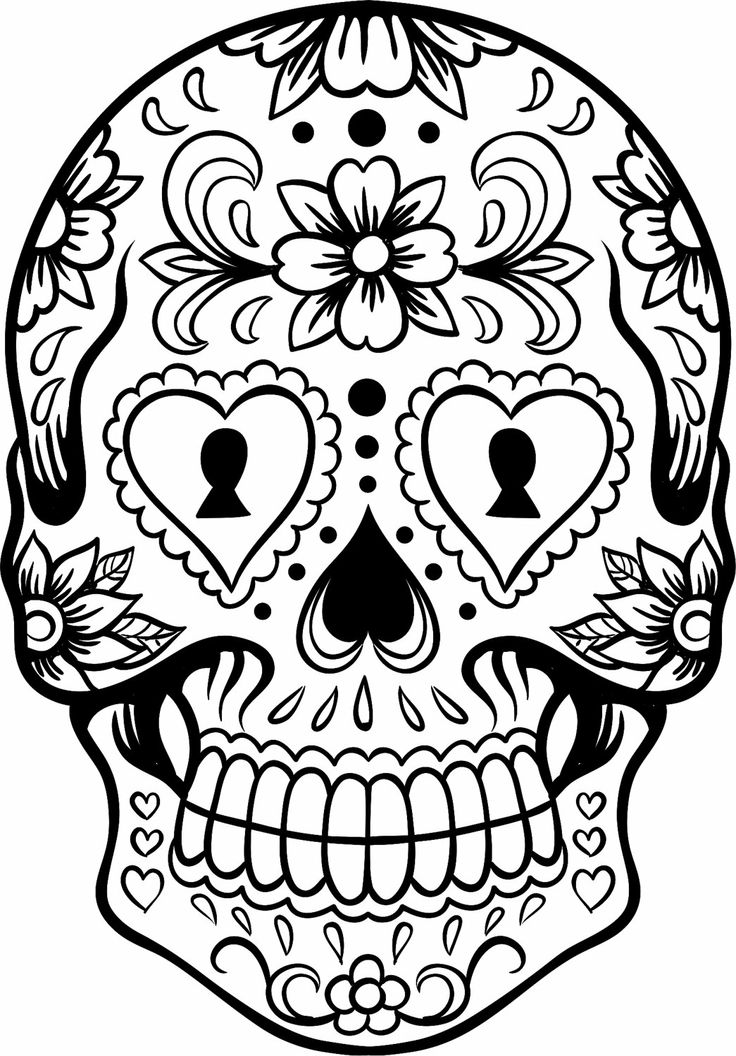 736x1056 Sugar Skull Outline Download Coloring Pages