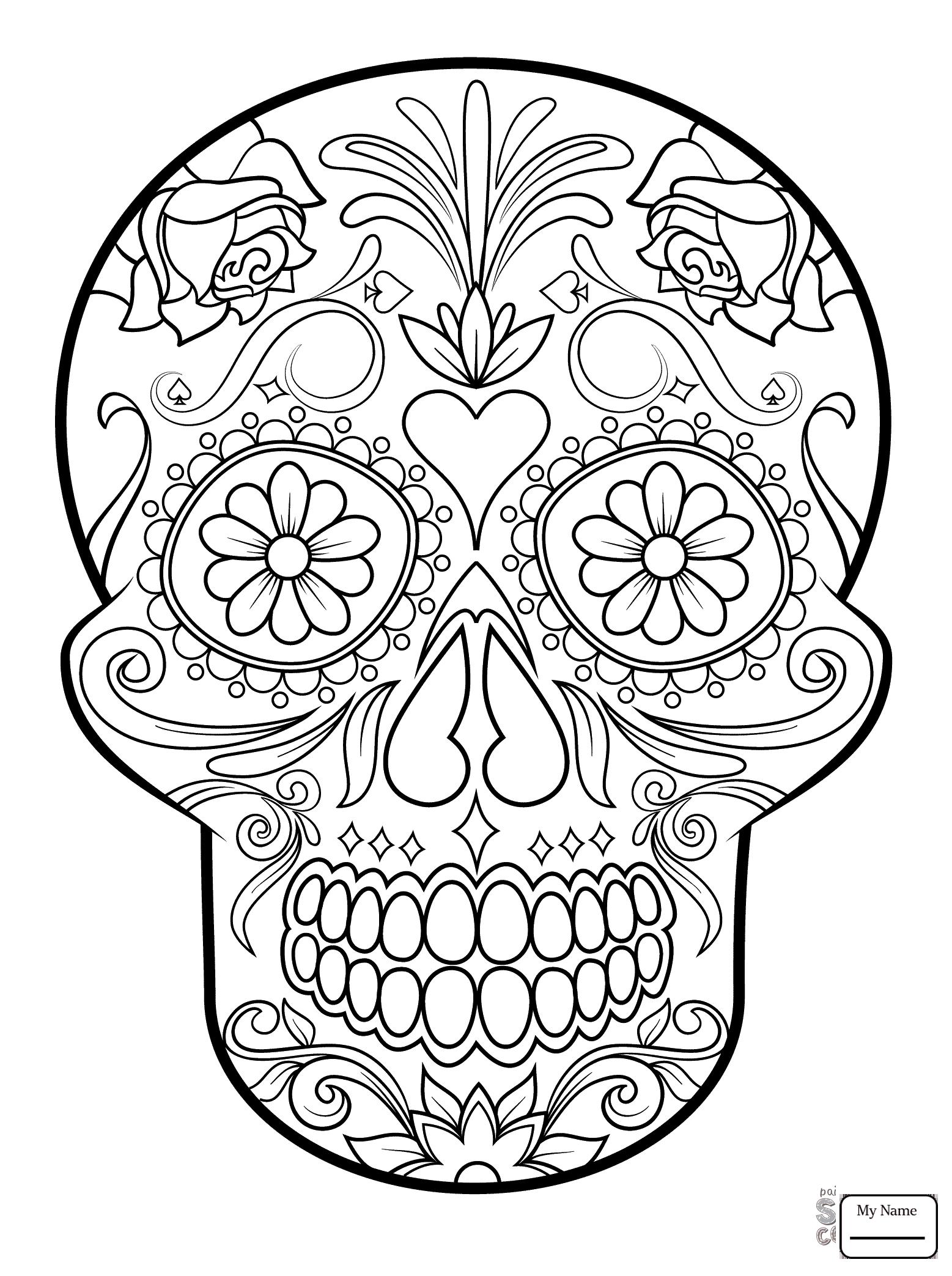 El Dia De Los Muertos Skull Coloring Pages