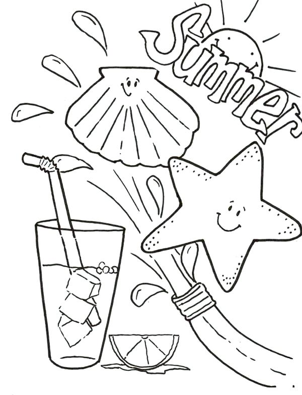600x784 Easy To Paint Summer Coloring Pages For Kids Color Funny Summer