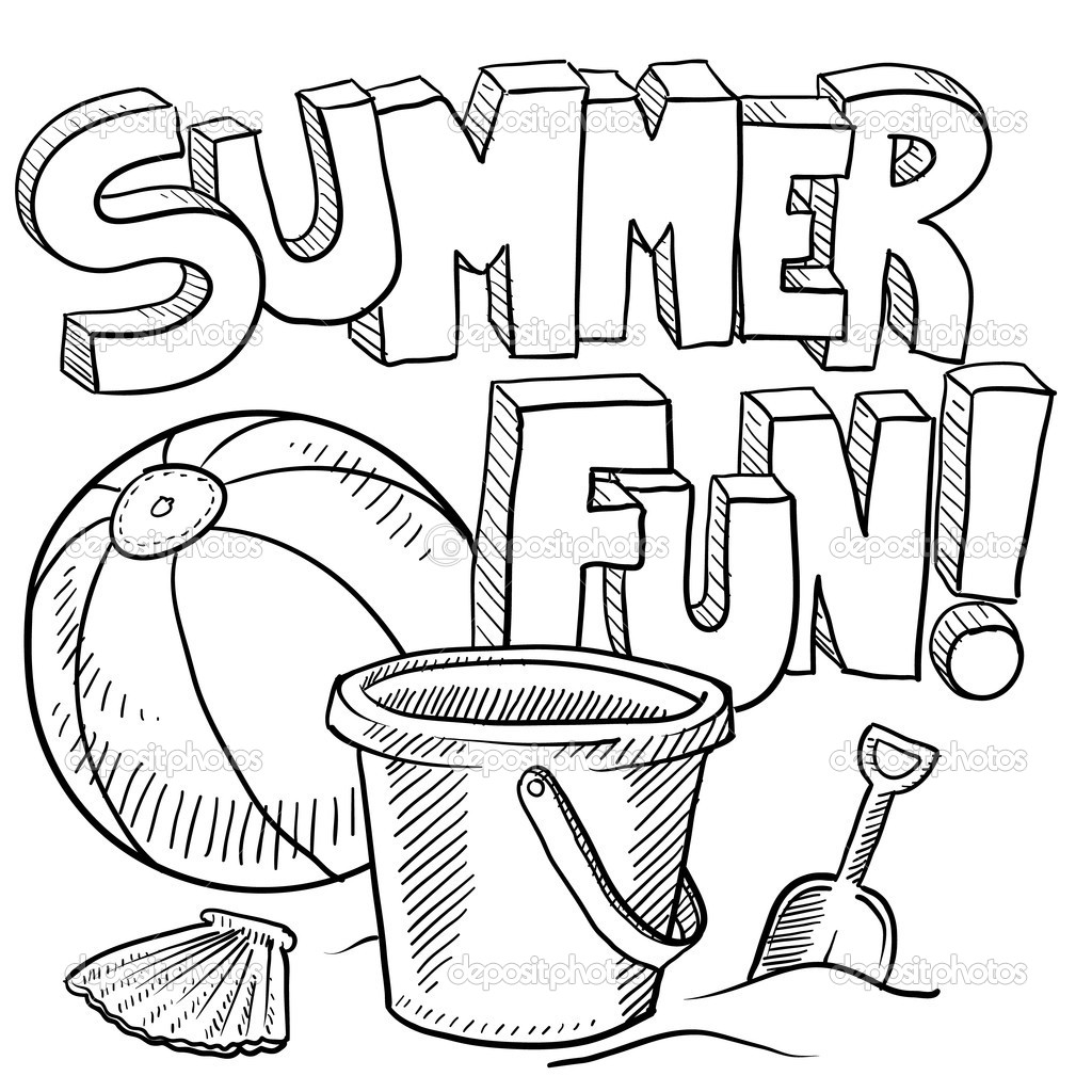 1024x1024 Summer Time Coloring Sheets