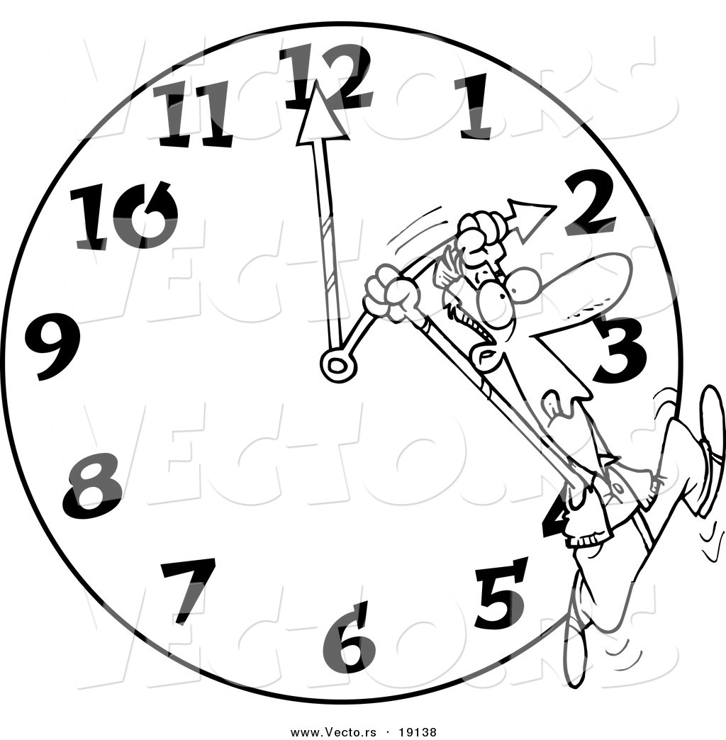 1024x1044 Vector Of A Cartoon Man On A Daylight Savings Clock