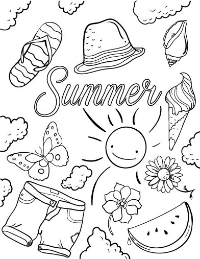 392x507 Summer Coloring Pages Pdf