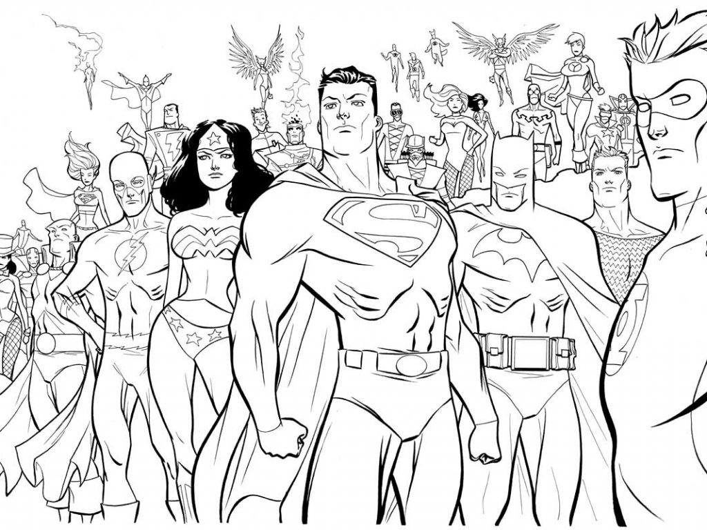 1024x768 Dc Super Heroes Coloring Pages Perfect For Unknown Dc