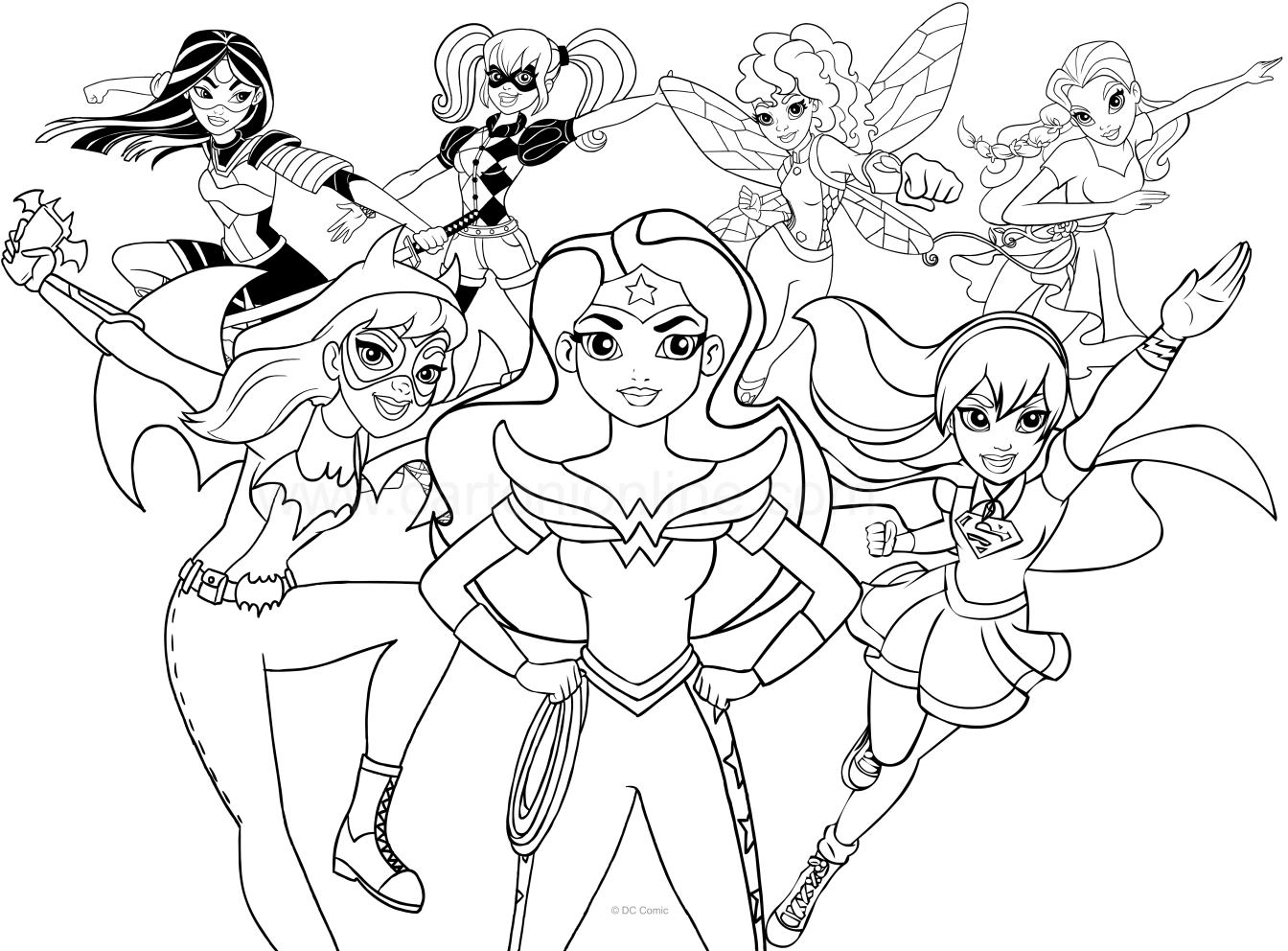 1344x992 Dc Superhero Girls Coloring Page
