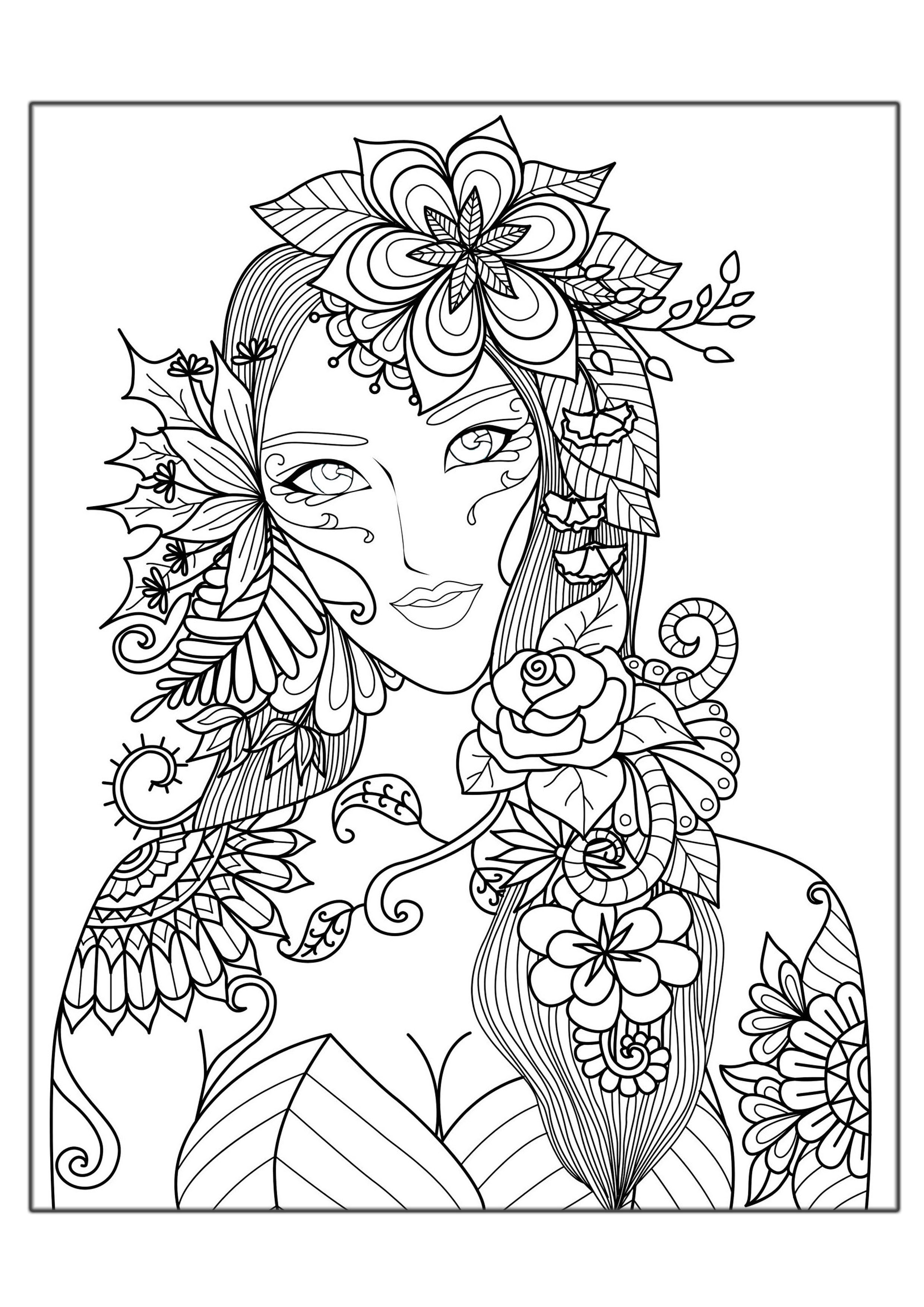 2480x3508 Woman Flowers