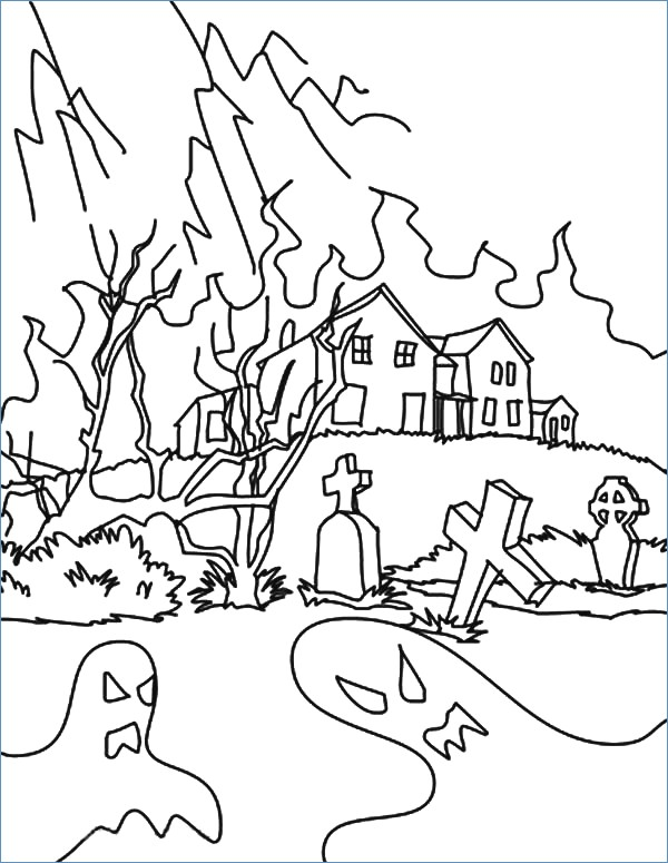 600x775 Halloween Coloring Pages Haunted House