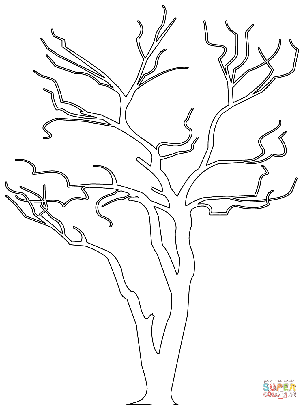 1050x1400 Sampler Outline Of Trees Fortune Dead Tree Coloring Page Free
