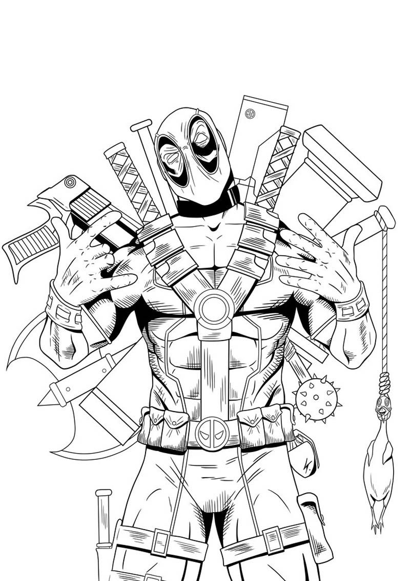 800x1131 Deadpool Coloring Pages Printable Hero And Villain Coloring