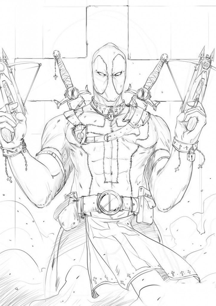 724x1024 Free Printable Deadpool Coloring Pages For Kids