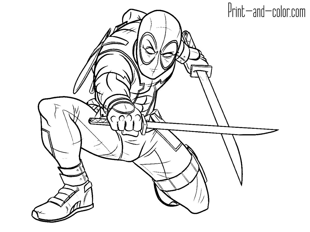 1200x900 Simple Deadpool Coloring Pages To Print For Deadpool Coloring