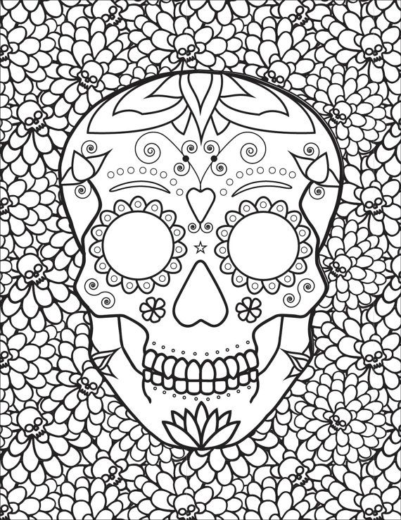 570x738 Best Sugar Skulls + Day Of The Dead Coloring Pages For Adults