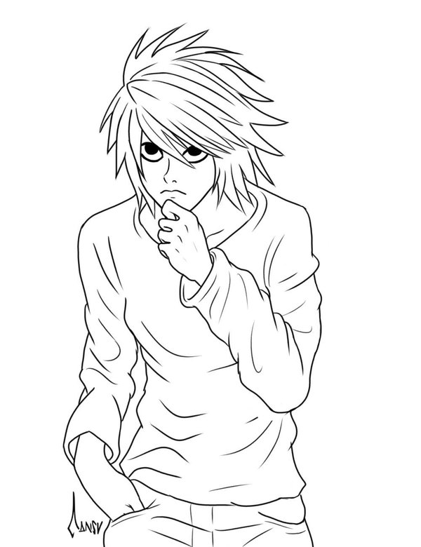 600x780 Death Note Coloring Pages Within Inspirations