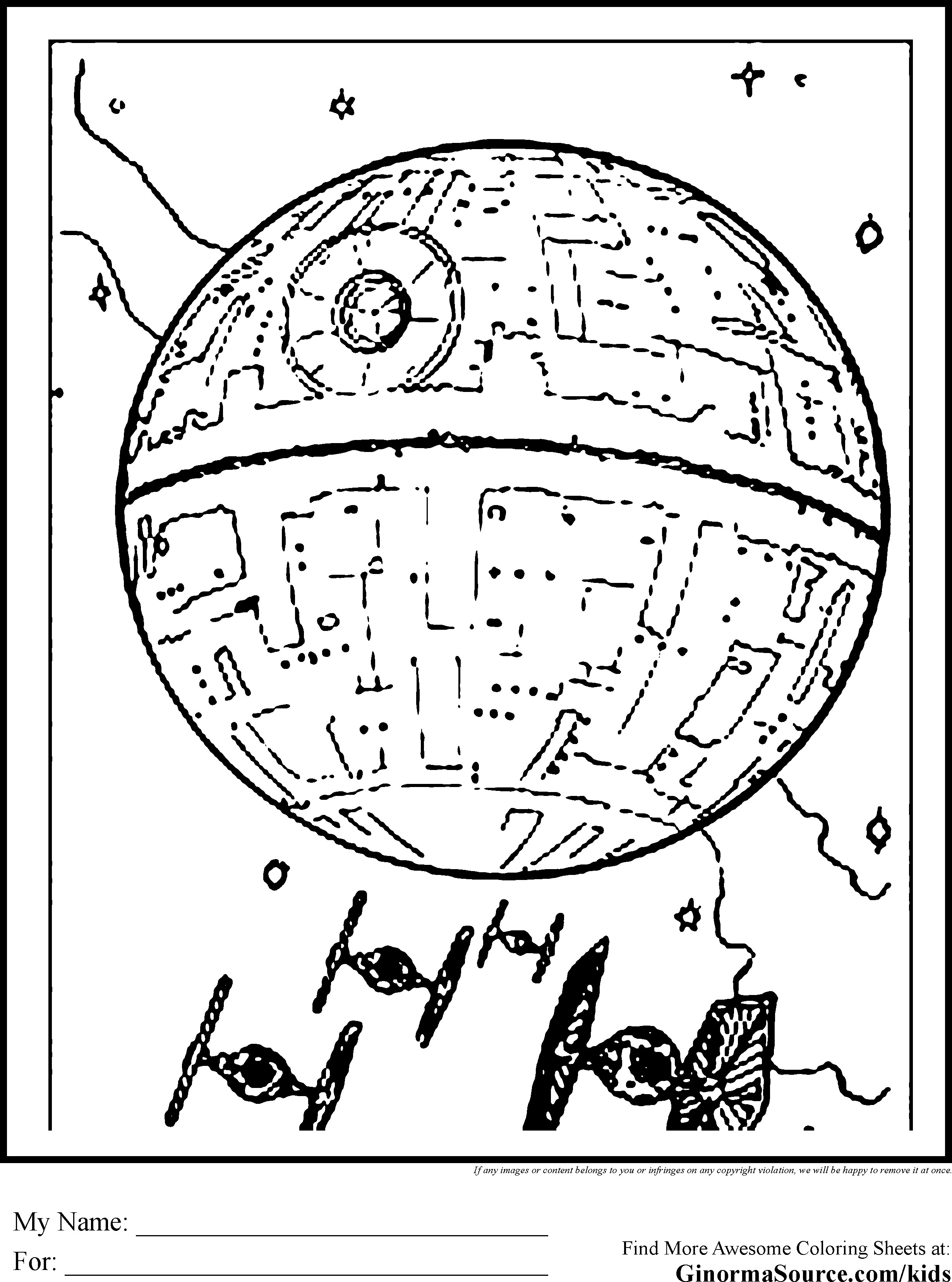 2459x3310 Death Star Coloring Page