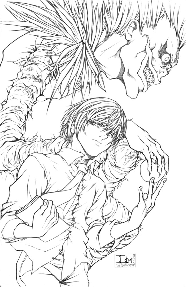 650x1003 Lovely Death Note Coloring Pages For Your To Decor