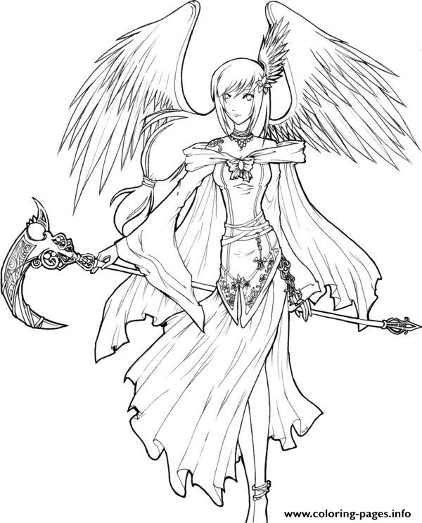 600x744 Angel Of Death Lineart To Color Coloring Pages Printable