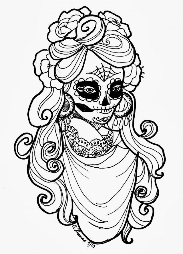 640x891 Day Of The Dead Coloring Pages For Adults
