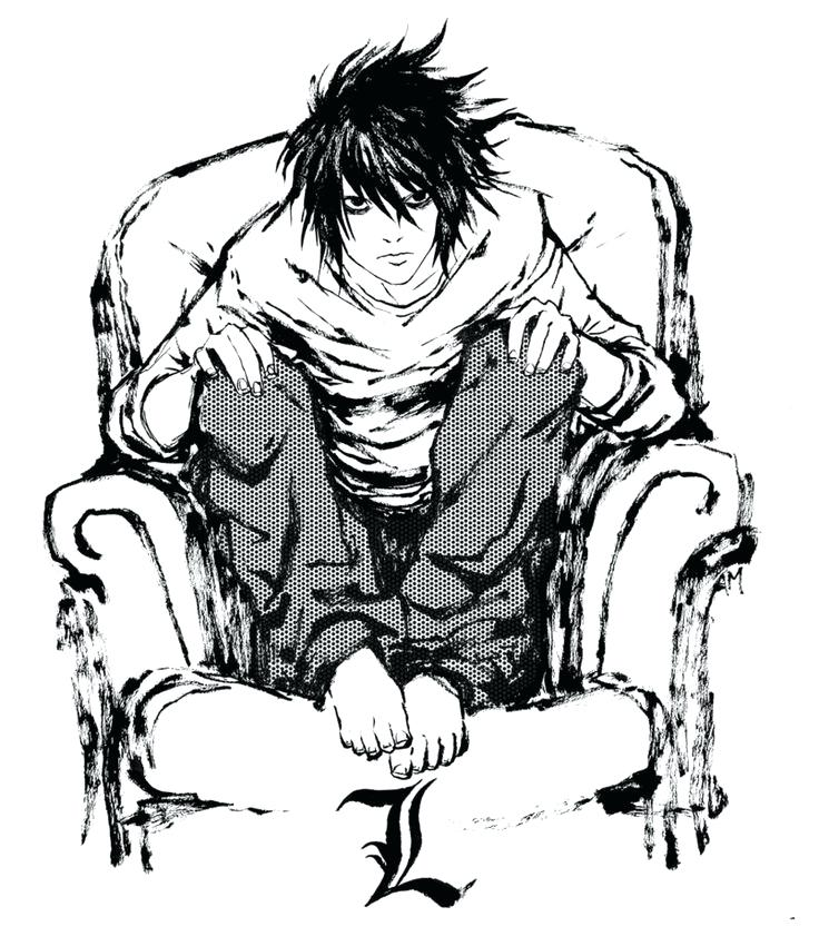736x850 Death Note Coloring Pages L Con Google Coloring Collection