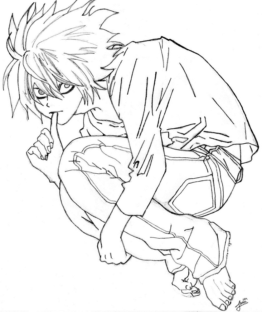 840x999 Pleasing Death Note Coloring Pages L Lawliet From Page Free