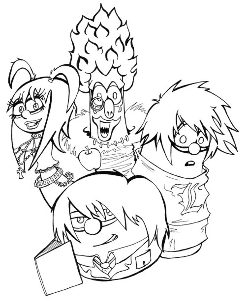 500x623 Veggie Tales Meets Death Note Coloring Page Haha Veggie Tales