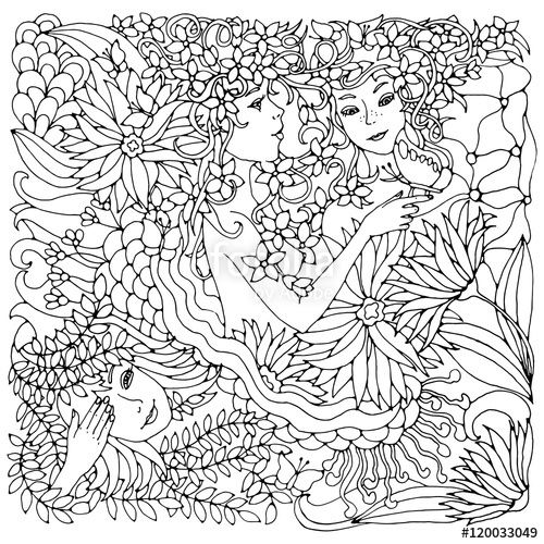 500x500 Floral Decorative Square With Surreal Female Faces, Leaves