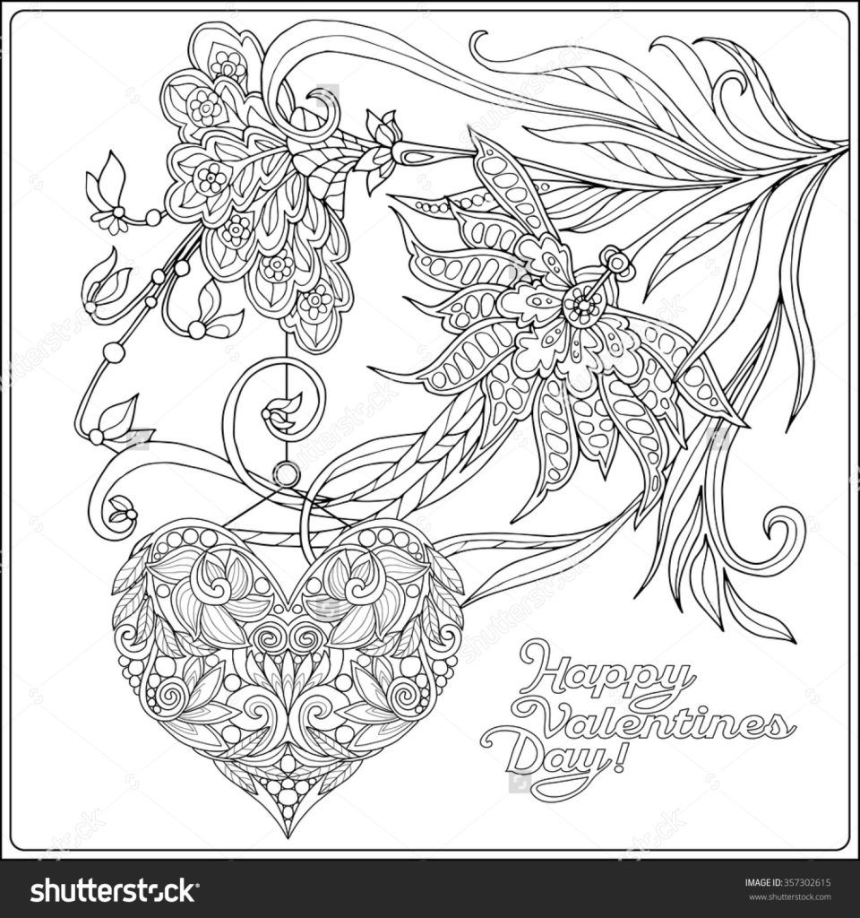 960x1024 Incredible Coloring Pages Happy Valentine Day Card With Decorative