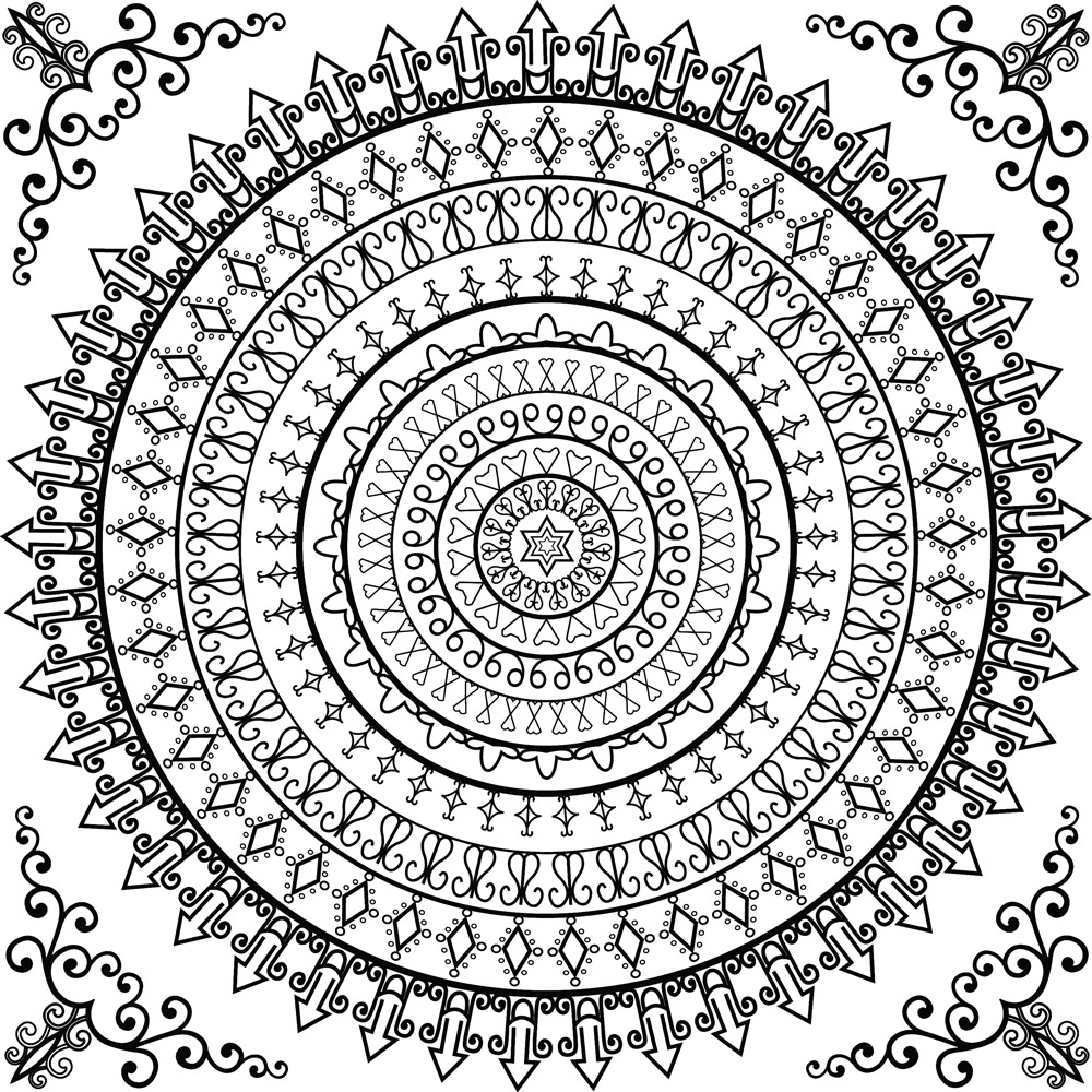 1000x1000 Colouring Page Decorative Coloring Pages