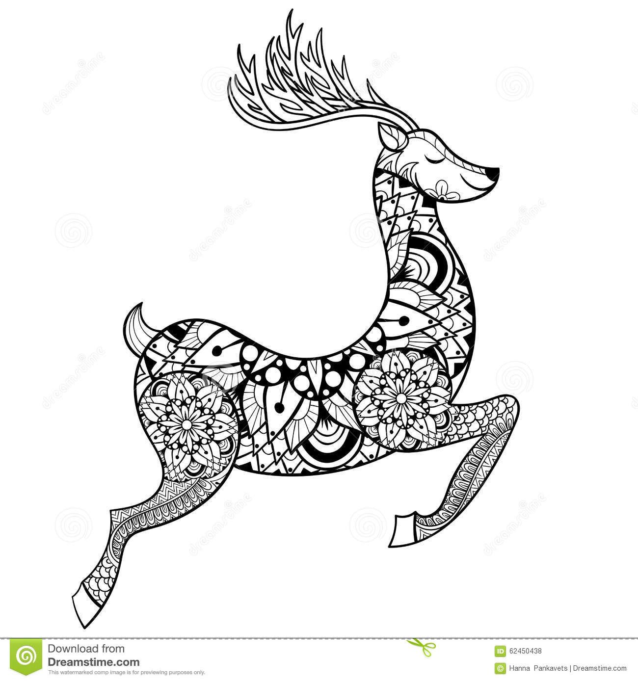 1300x1390 Zentangle Vector Reindeer For Adult Anti Stress Coloring Pages