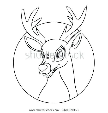450x470 Deer Head Coloring Pages Hand Drawn Deer Head Coloring Page