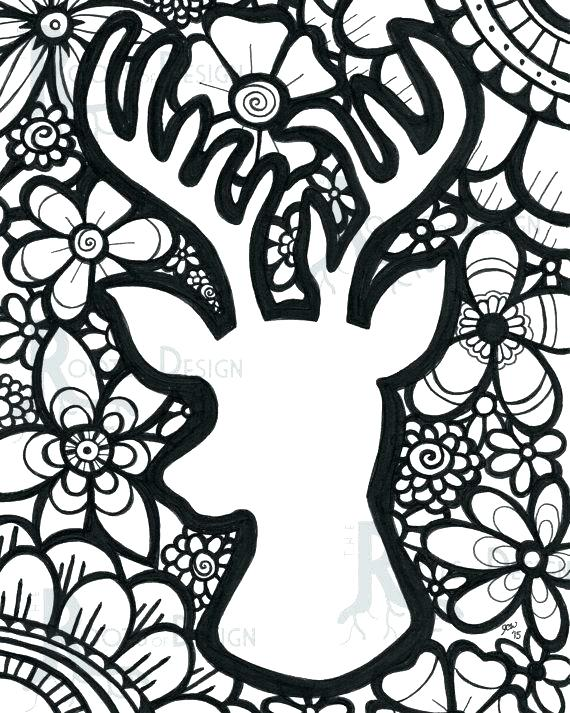 570x713 Coloring Pages Deer Pen And Watercolor Adult Coloring Instant