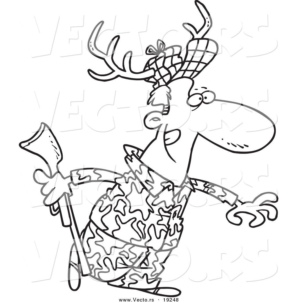 1024x1044 Vector Of A Cartoon Deer Hunter Wearing Antlers