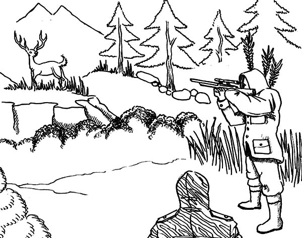 600x473 Deer Hunting Coloring Pages Aiming At Sky Get Bubbles