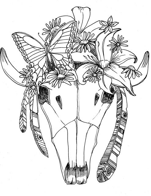 Deer Skull Coloring Pages