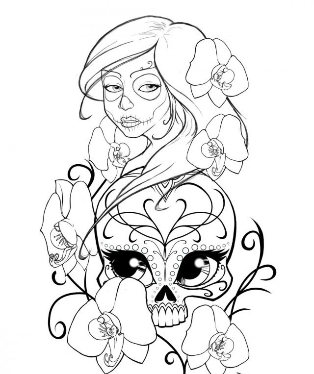 640x763 Sugar Skull Coloring Pages