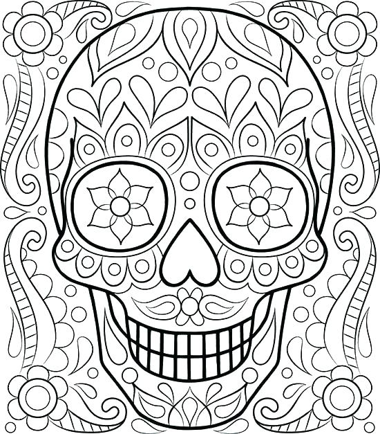550x627 Sugar Skull Coloring Pages Printable Sugar Skull Coloring Pages