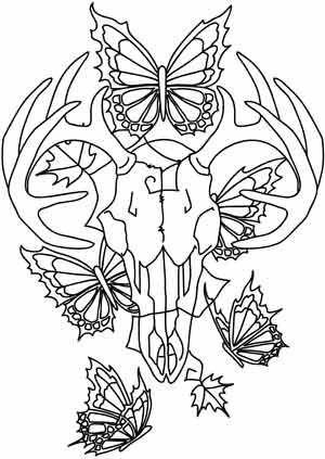 300x423 Adult Coloring Pages Deer Skull Printable