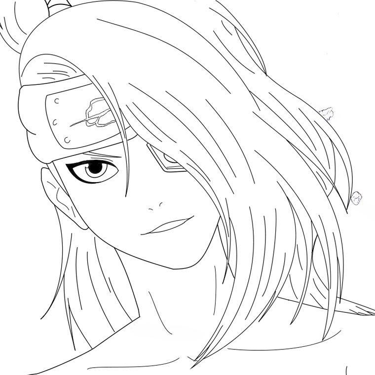 760x760 Deidara Smiling Naruto Coloring Pages Naruto