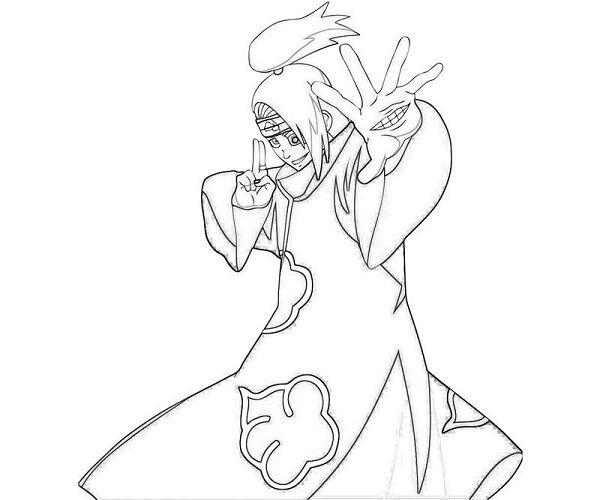 600x500 Naruto Coloring Pages Deidara Naruto Coloring Pages Deidara